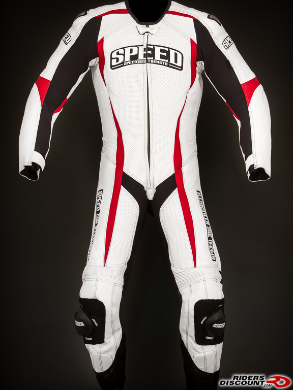 The Speed and Strength Twist of Fate 3.0 suit is available in White/Red/Black (shown) and Black.