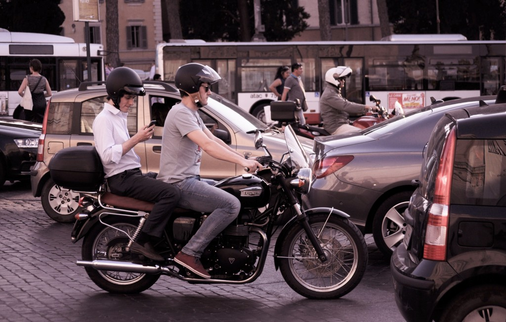 Be aware of everyone on the road (and don't use your phone while on your motorcycle!)