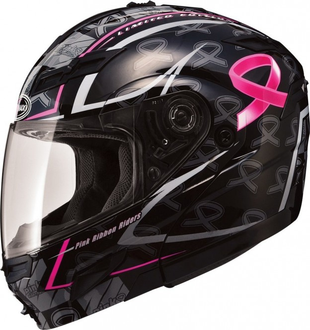 GMax Womens GM54S Pink Ribbon Modular Helmet with Flip Up Chin Bar - Click to Purchase