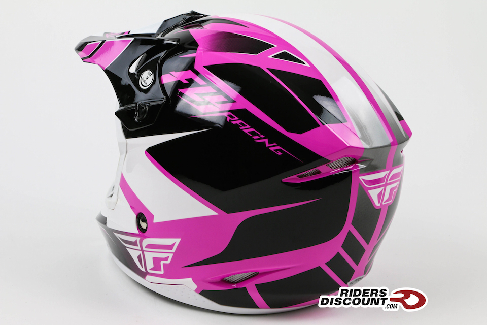 Fly Racing Womens Kinetic Impulse Helmet Pink/White/Black - Click Image For More Info