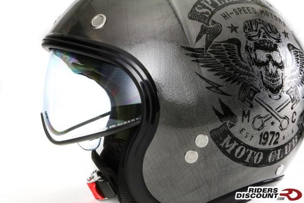 """Nolan N21 Vintage Speed Junkie """"Scratched"""" Chrome Helmet"""