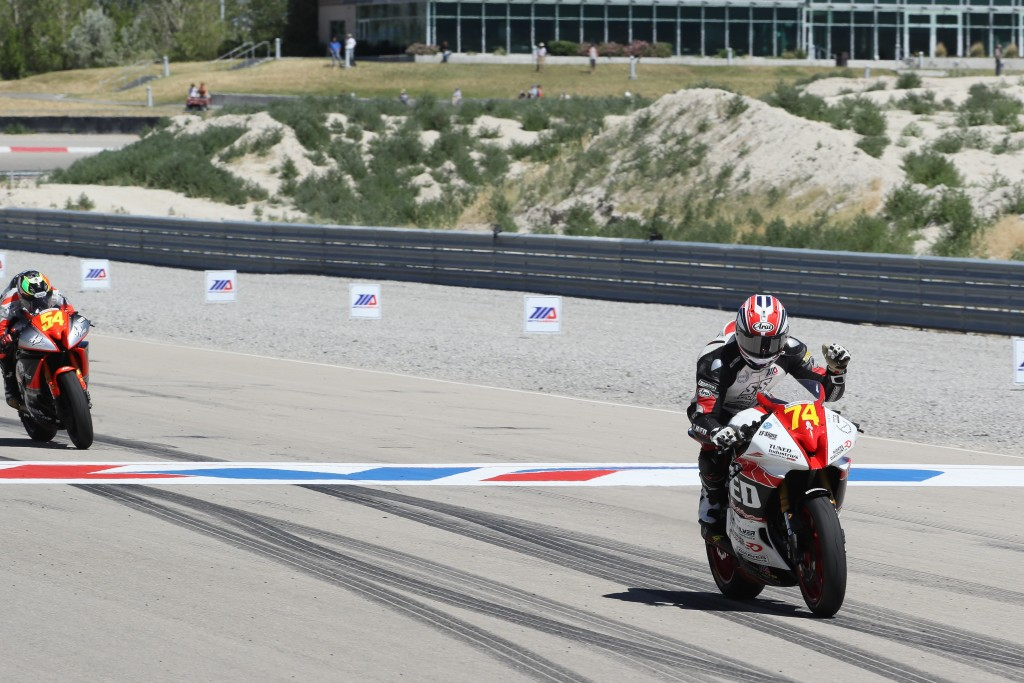 Bryce Prince (74) crosses the finish line at Utah Motorsports Campus. Photo by Brian J. Nelson.