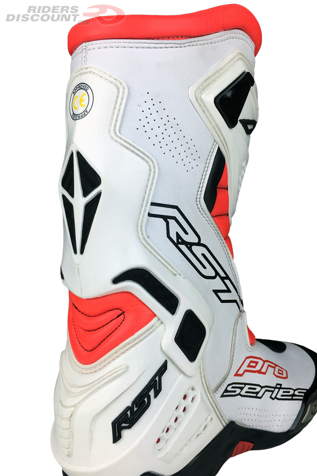 RST Pro Series Race Boots in White/Flo Red