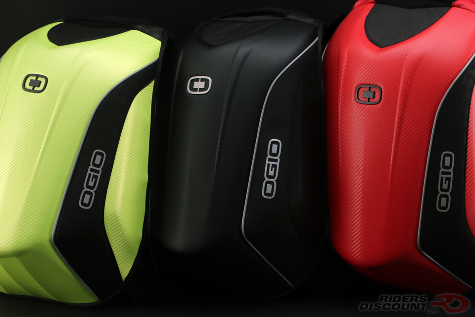 OGIO No Drag Mach 5 Backpack Colors Left to Right - Hi-Vis, Stealth, Red