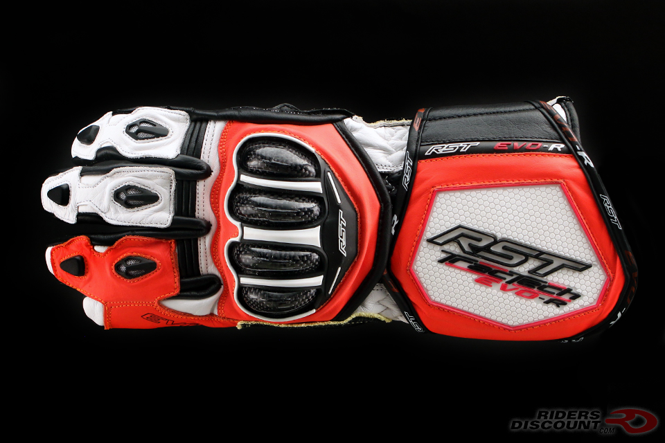 RST TracTech Evo R Glove In White/Fluorescent Red